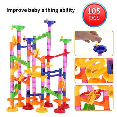 105Pcs DIY Construction Marble Race Run Maze Balls Track Building Blocks Trendy - Marble Track