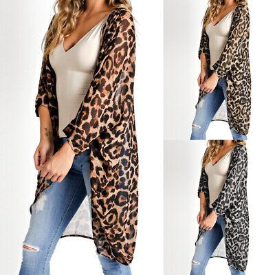 Leopard-print-kimono (Summer Women Oversize Long Top Vintage Leopard Print Kimono Beach Cover Up Shirt)