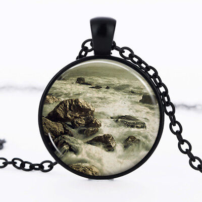 Ocean Waves photo Black Dome Glass Cabochon Necklace chain Pendant #339