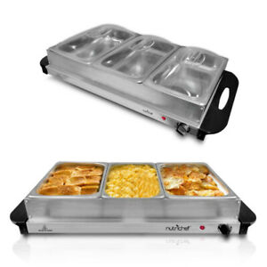 NutriChef 3 Tray Buffet Server & Hot Plate Food Warmer Tabletop