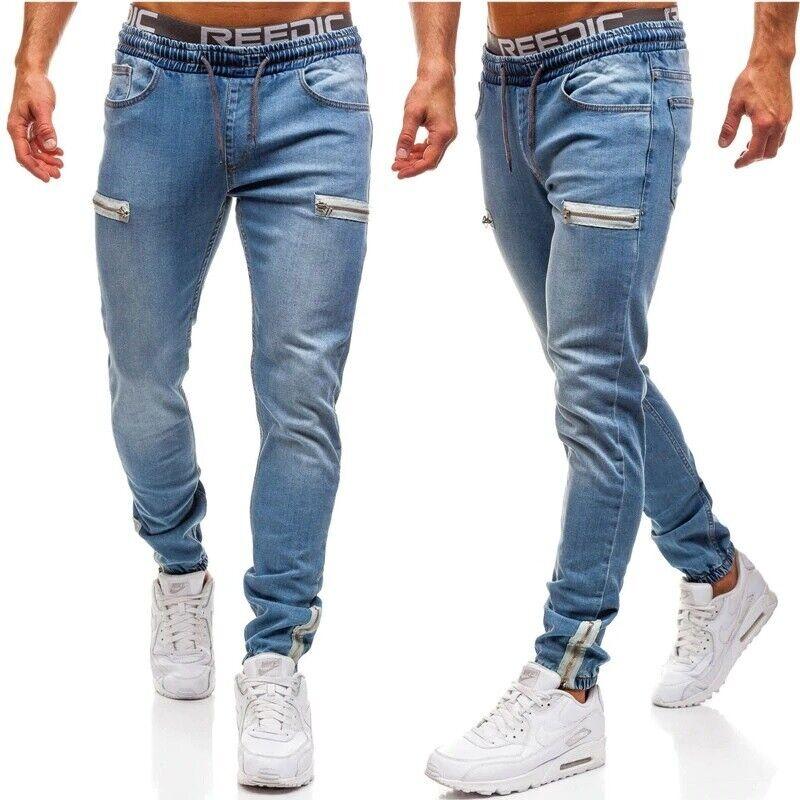 Pantalones Vaqueros Para Hombres Moda Jeans Elastico Ajustado Casual Mezclilla Ebay