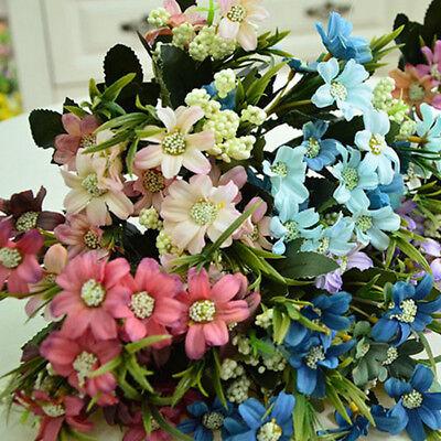 6 Fork Artificial Silk Flowers Fall Vivid Cosmos Fake Leaf Wedding Party -