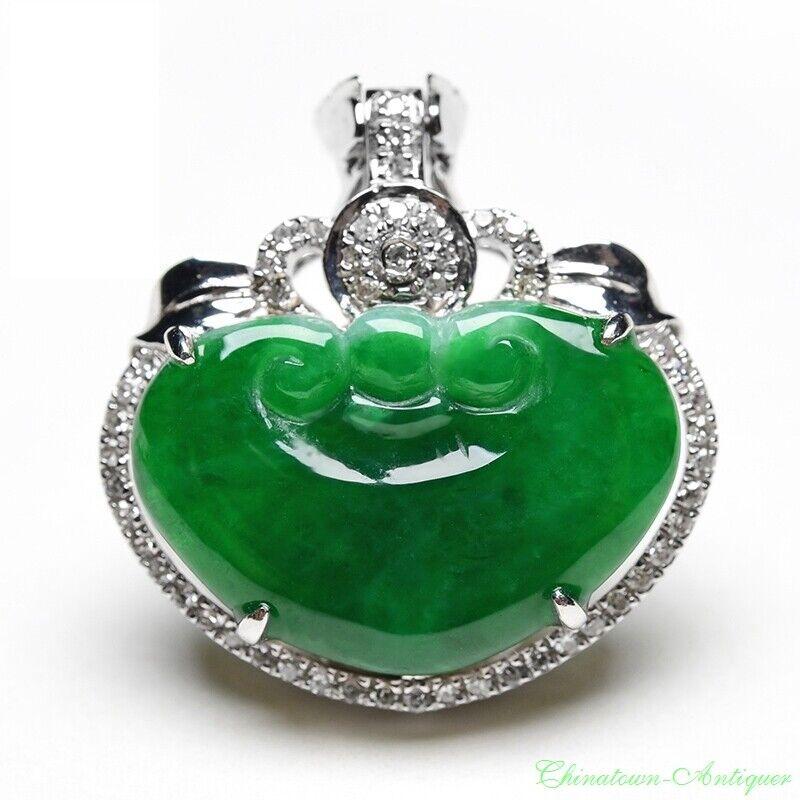 Burma Grade A Ice Yang Green Jadeite Jade Good Lucky Ruyi Pendant Amulet #2156