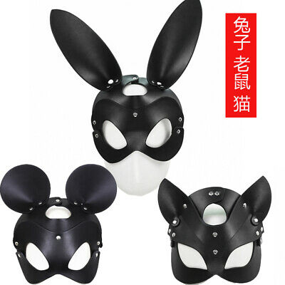 PU Leather Halloween Bondage rabbit bunny Head Cat - Rabbit Halloween