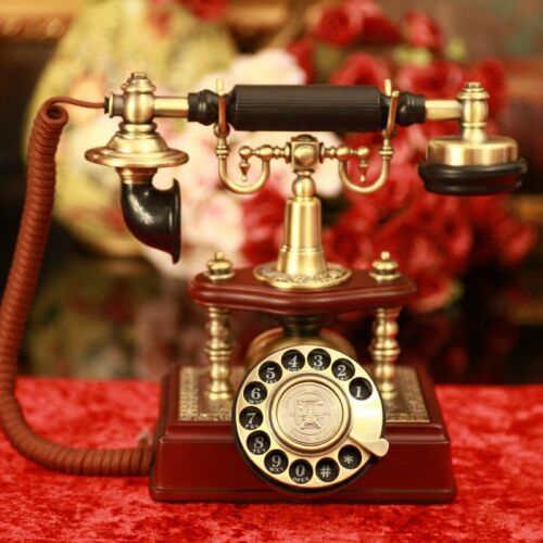 1894 classic wood metal retro Antique phone Vintage rotary dial telephone F065