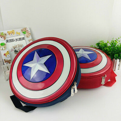 US Captain America Shield Backpack Marvel Avengers Superhero School Bag Kids! (Kids Captain America)