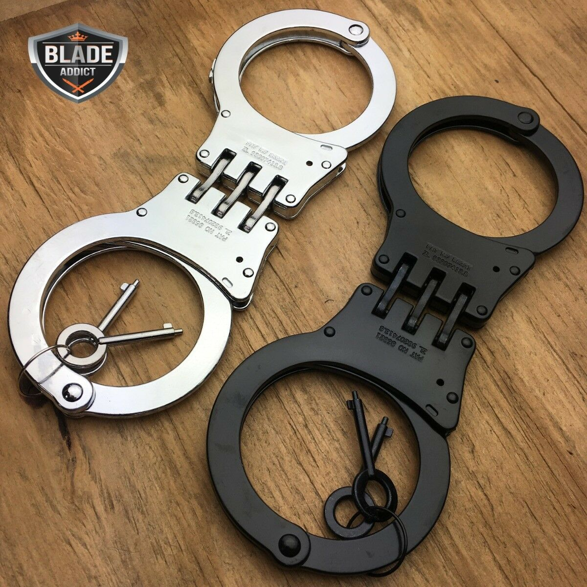 2 PC Professional Double Lock Chrome Steel Hinged Police SECURITY Handcuffs Real