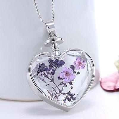 Hot Unique Silver Nature Dried Flower Glass Locket Heart Pendant Necklace Purple
