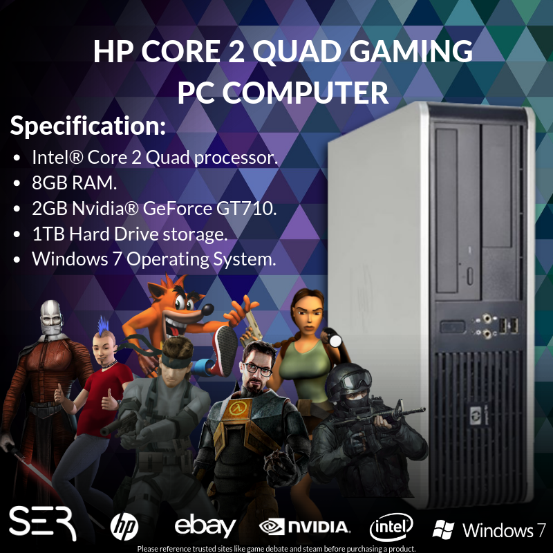 Computer Games - Windows 7 HP Core 2 Quad Gaming PC Computer - 8GB RAM - 1000GB HDD - HDMI Wi-Fi