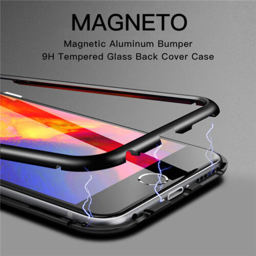 For iPhone X 6 7 8 Plus Magnetic Adsorption Metal Flip Tempered Glass Case Cover