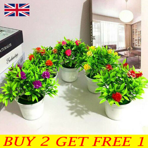 Home Decoration - Fake Artificial Potted Flowers False Plants Outdoor Garden Home In Pot Decor UK