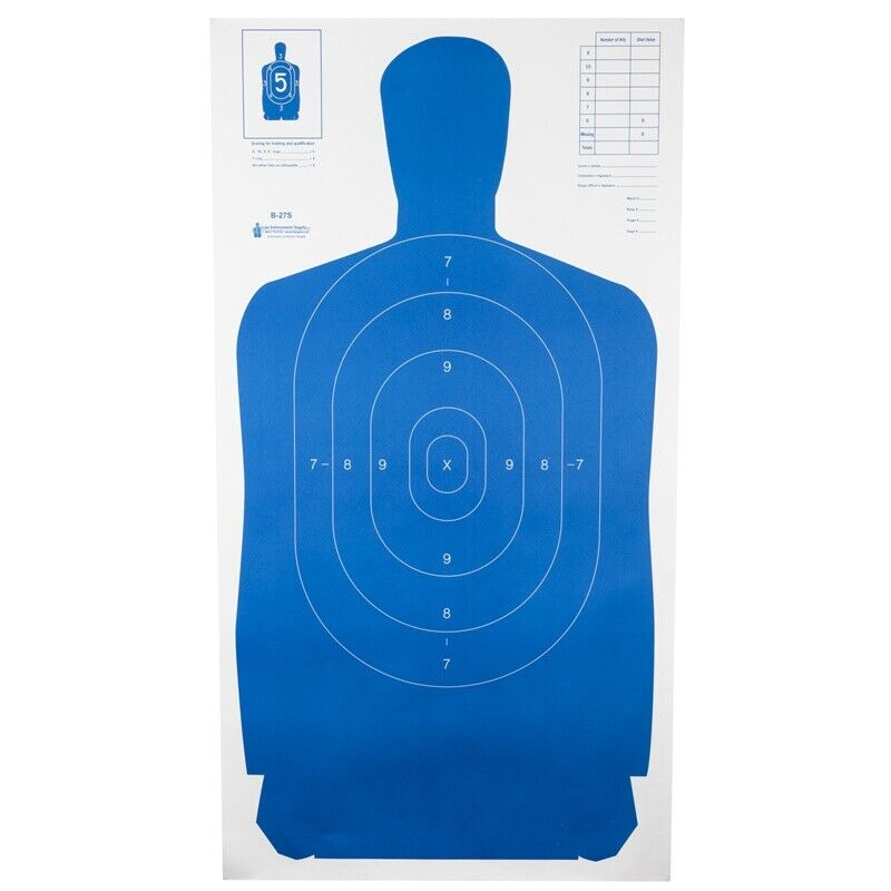 """Action Target B-27S Standard Target Full Size Blue Silhouette 24"""" x 45"""" 100 Pack"""