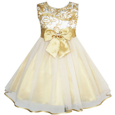 US STOCK Flower Girls Dress Bow Tie Champagne Wedding Pageant Size 2-10  Formal