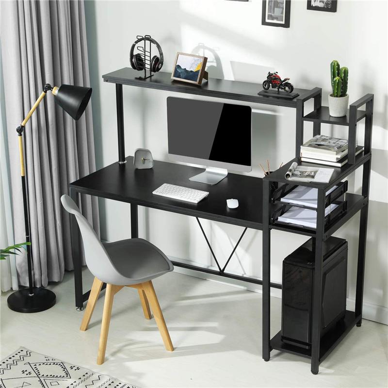 Home Office Computer Desk Study Writing Desk w/ Hutch & 4-Tier Shelves Black