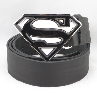 New Superman Superhero Mens White Black Metal Belt Buckle Leather Costume - Superman White Costume
