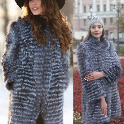 Neueste Echt Farm Silver Fox Pelzmantel Chic Lange Jacke Outwear Wintermantel