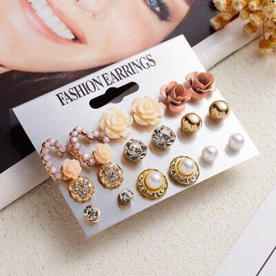 Women Sweet Crystal Pearl Flower Ear Studs Ladies Earrings Jewelry Set 9 Pairs