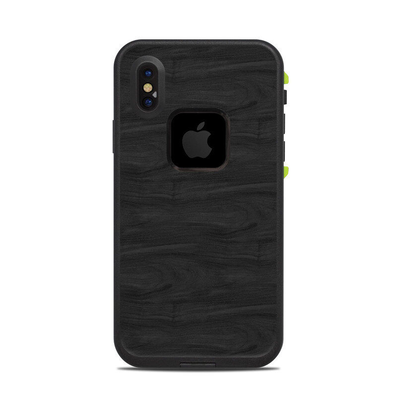 Skin for LifeProof FRE iPhone X - Black Woodgrain - Sticker Decal