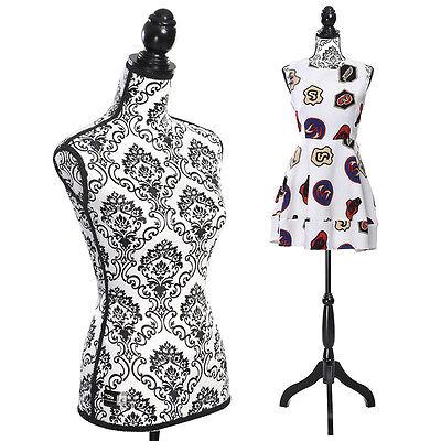 Female Mannequin Torso Dress Form Display W/ Black Tripod Stand New National