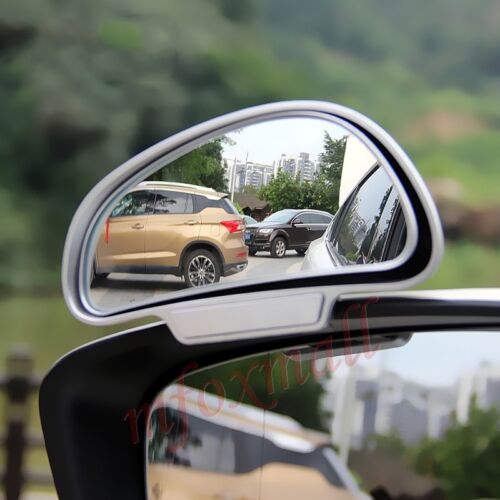 Chrome Car Rear View Auxiliary Safety Blind Spot Mirror Wide Angle Convex Parts