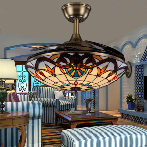 42 tiffany style led ceiling fan light