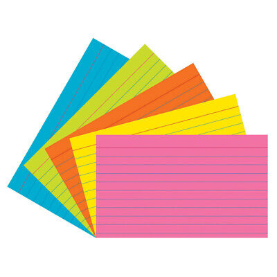 Index Cards 5 Super Bright Assorted Colors Ruled 14 3 X 5 75 Cards