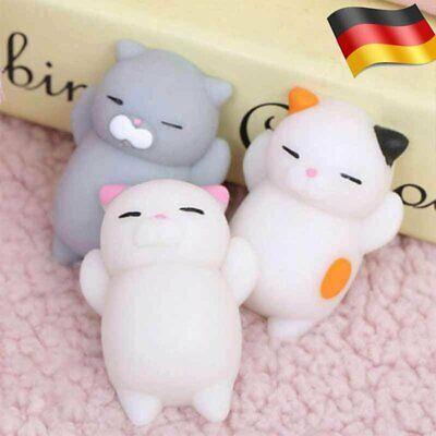 3x Mochi Nette Katze Squishy Squeeze Heilung Spaß Spielzeug Stress Relieve Toy ()