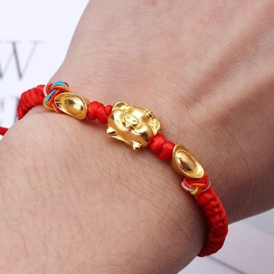 Lucky Kabbalah Red String Braided Golden Pig Charm Bracelets Fashion Jewelry   for sale  Shipping to Canada