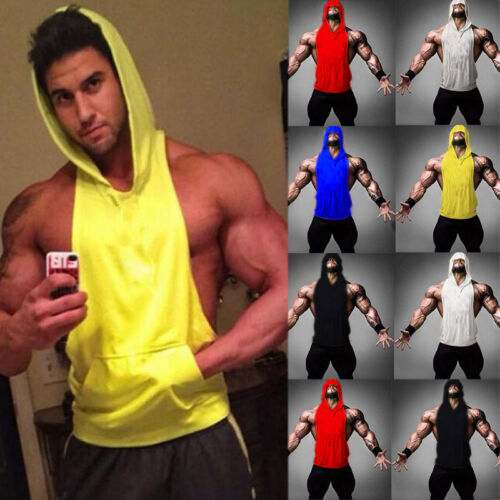 Купить Unbranded - Mens Bodybuilding Stringer Workout Gym Hoodie Tank Top Fitness Hooded Shirt Vest
