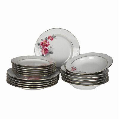 Service Rim Plate (18 Pcs Round Porcelain Dinner Set Dinnerware Pink Flowers Service Plate Gold Rim)