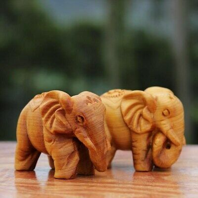 Thuja wood carving Fu Gui elephant wood solid wood crafts Statue L7cm