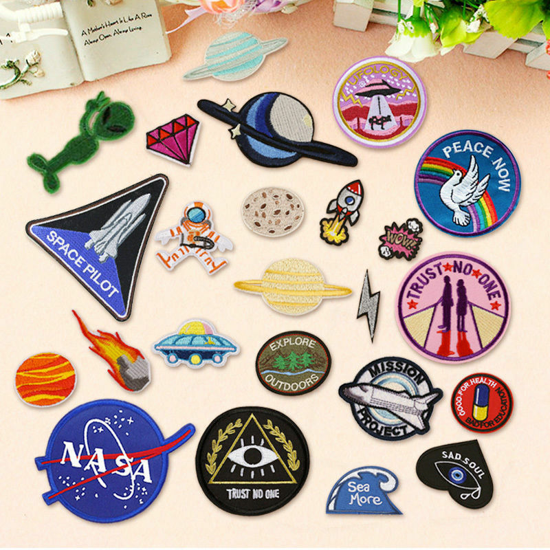 diy outer space embroidery sew on iron