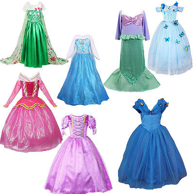 New Toddler Kid Girl Princess Auora Elsa Rapunzel Cinderella Ariel Cosplay Dress