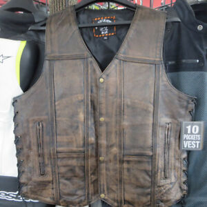Men's Brown Distressed Leather Motorcycle Jackets and Vests