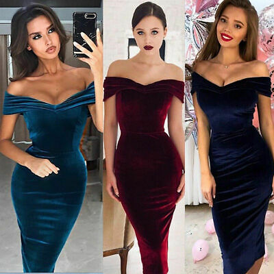 US Women Velvet  Prom Evening Party Dress Bodycon Dress Gown Formal -