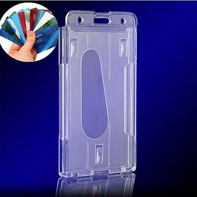 Clear Vertical Hard Plastic Badge Holder Double Card Id Transparent 10x6cm
