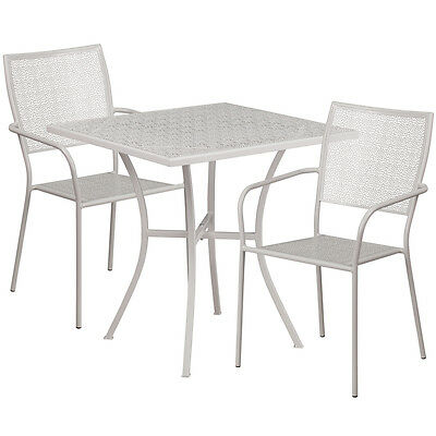 28 Square Light Gray Indoor-outdoor Patio Restaurant Table Set W2 Chairs