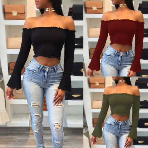 Summer Women Casual Off Shoulder Tank Top Vest Blouse Long Sleeve Crop new Shirt