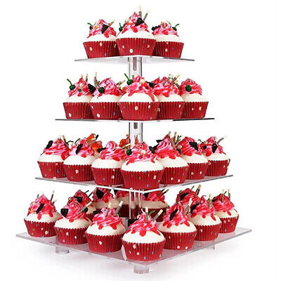 4 Tiers Square Cake Rack Cake Cupcake Stand For Wedding Candy Display Rack