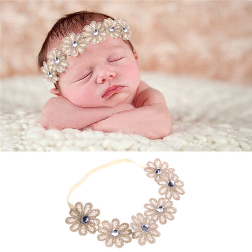 Cute Newborn Girls Baby Toddler Kids Elastic Flower Headband Hair Band Headwear