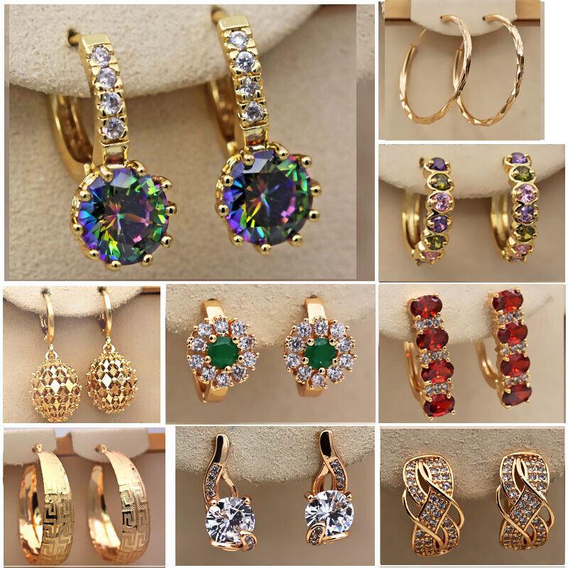 18K Gold Filled Earrings Topaz Zircon Women Jewelry Wedding