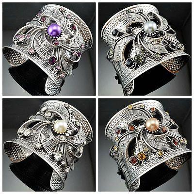 Stylish Antique Hammered Steel Metal Spiral Shape Pearl Crystal Cuff Bracelets