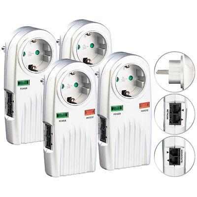 Blitzschutzstecker: 4er-Set 6in1-Überspannungsschutz für TV, HiFi, LAN & Telefon ()