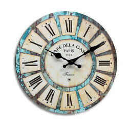 Large Wall Clock Colorful Retro Vintage Rustic Wooden Home Round Simple Clock