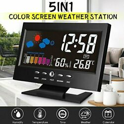 US* Wireless Digital Alarm Clock Weather Station Outdoor Thermometer World time