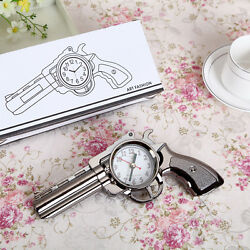 Vintage Pistol Gun Design Alarm Clock Travel Desk Table Home Decor Gifts Pop
