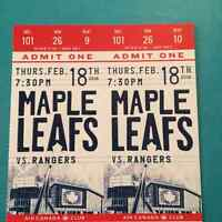 $250 - REDS - Leafs vs. Rangers - Thu, Feb 18, 2016 07:30 PM