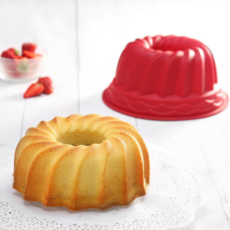 2 X Swirl Bundt Ring Cake Bread Pastry Silicone Mold Pan Bak