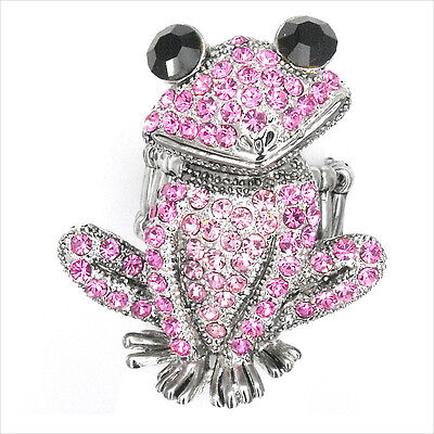 Smart Frog Froggy Animals Pets Cocktail Rings Costume Jewel Crystal Pink New 190