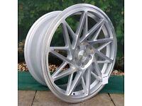 "19"" Veemann V-FS35 5x112 Silver with a polished face for Golf MK5 MK6 MK7 Jetta Caddy ETC"